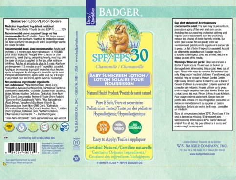 Recalled Badger SPF 30 chamomile Baby Sunscreen