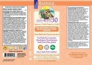 Recalled Badger Tangerine and Vanilla SPF 30 sunscreen