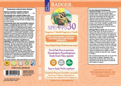 Recalled Badger Tangerine and Vanilla SPF 30 sunscreen