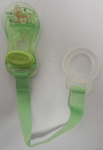 Recalled Playtex pacifier holder clips