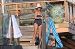 Reese Witherspoon Rocks A Navy & White Polka Dot One Piece Swimsuit