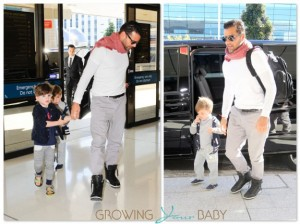 Ricky Martin at the airport with sons Valentino and Matteo
