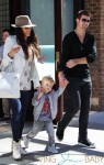 Singer Robin Thicke seen with his wife actress Paula Patton and their son Julian Fuego Thicke leaving Greenwich Hotel in New York City