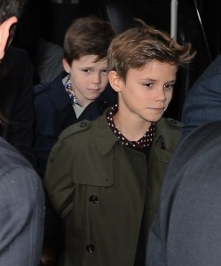 Romeo and Cruz Beckham at Balthazar restaurant in NYC