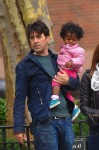 Ron Livingston takes daughter Gracie for a stroll through Soho