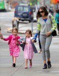 Sarah Jessica Parker takes her twins, Marion and Tabitha for a walk in Greenwich Village