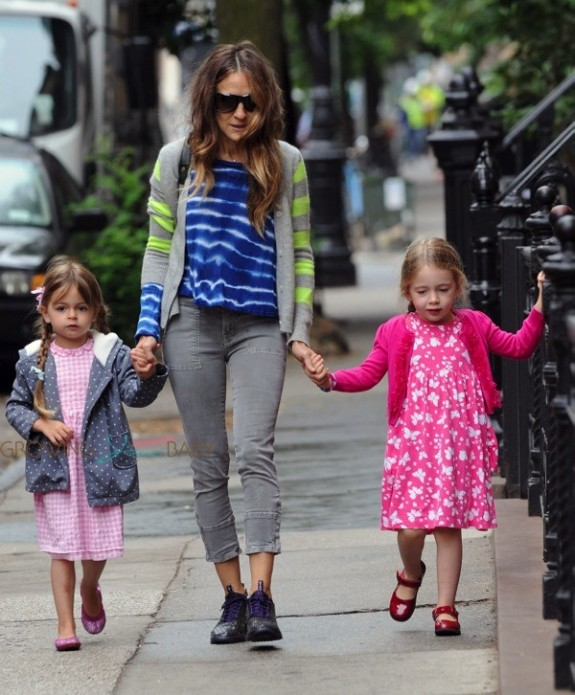 Sarah Jessica Parker takes her twins, Marion and Tabitha for a walk in Greenwich Village NYC