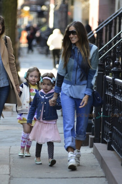 Sarah Jessica parker does the school run with daughter Tabitha and Loretta