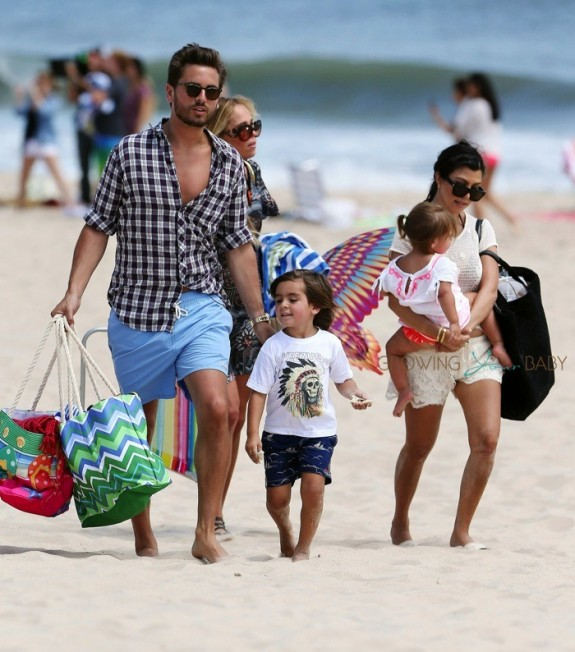 Scott Disick and Kourtney Kardashian at the beach with Mason & Penelope