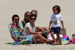 Scott Disick and Kourtney Kardashian at the beach with Mason and Penelope