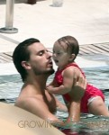 Scott Disick and daughter Penelope in the pool in Miami