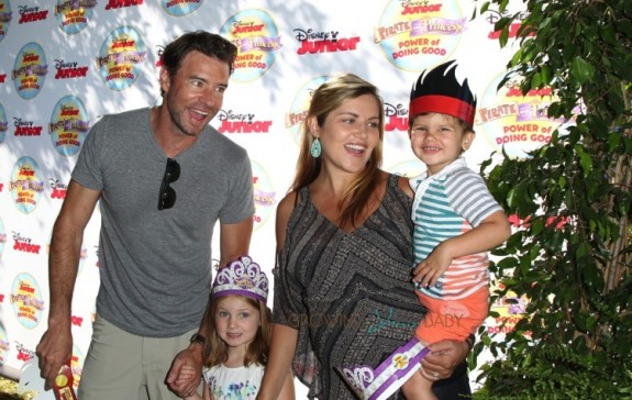 """Scott Foley and Marika Dominczyk with kids Malina and Keller at Disney Junior's """"Pirate and Princess Power of Doing Good"""" tour"""
