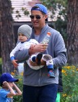 Scott Stuber with son Brooks at the park in LA