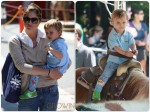 Selma Blair at the farmer's market with her son Arthur