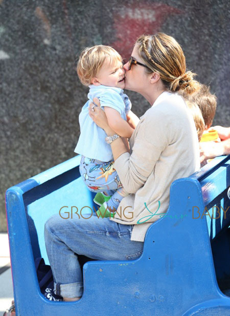 Actress Selma Blair takes her son Arthur to the Farmers Market in Pacific Palisades, Los Angeles