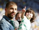 Shakira's husband Gerard Pique at FIFA 2014 World Cup Finale with son MIlan