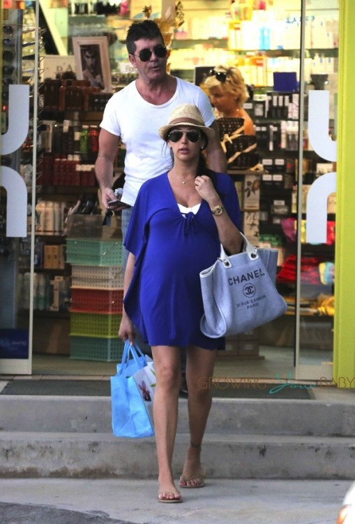 Simon Cowell & a very pregnant Lauren Silverman shop in Saint Barts