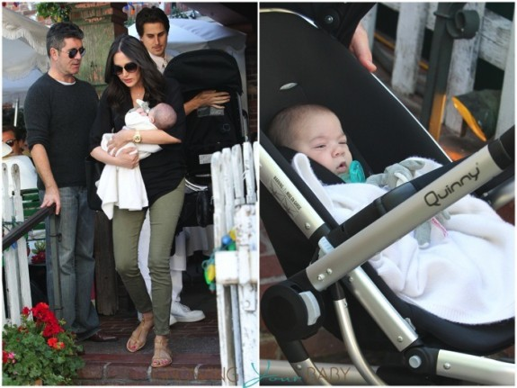 Simon Cowell and Lauren Silverman have lunch with little Eric at The Ivy