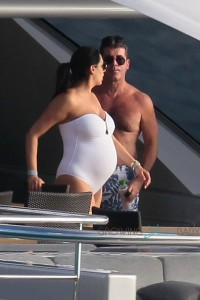 Simon Cowell and a very pregnant Lauren Silverman on a Yacht in Saint Barts