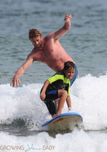 Simon and Jack Baker at the beach in Sydney
