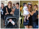 Singer Shakira with son Milan at the airport