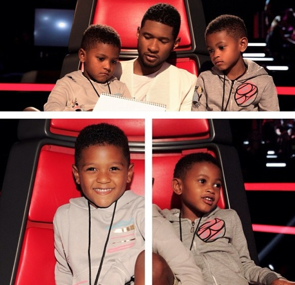 Singer Usher with his boys Usher Raymond V and Naviyd on set of the Voice