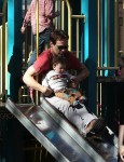 Stephen Moyer with his son Charlie at the park in NYC