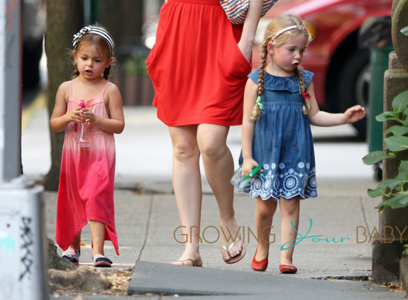 Sarah Jessica Parker twins seen out with their nanny in West Village, NYC