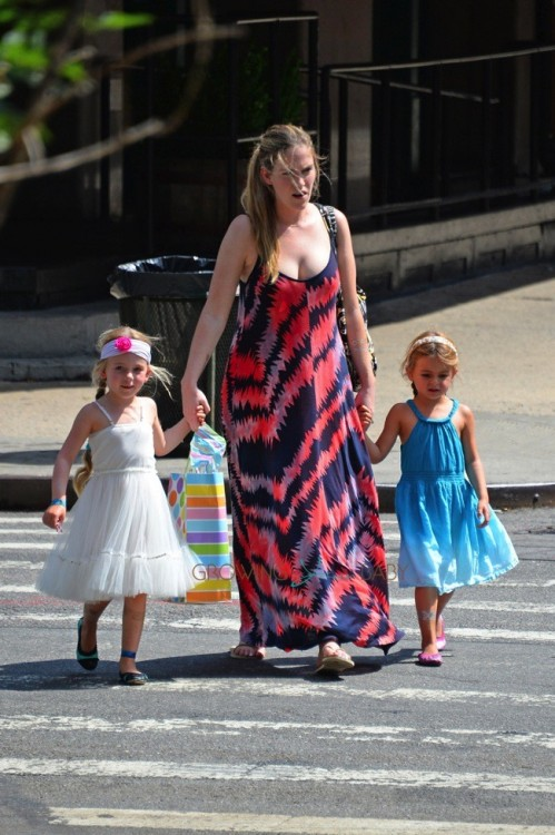 Tabitha & Marion Broderick out with their nanny in NYC
