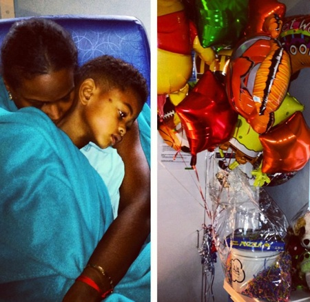 Tameka Foster with son Usher Raymond V at the hospital
