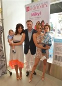 Tamera Mowry with son Aden Housley, President of Destination Maternity Chris Daniels, and Tia Mowry with son Cree Mowry-Hardrict