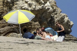 The Beckhams at the beach on Memorial Day