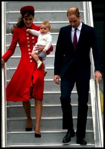 The Duke and Duchess of Cambridge arrive in New Zealand with Prince George