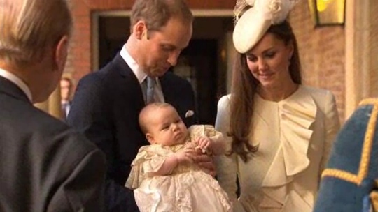 The Duke and Duchess of Cambridge with their son Prince george before his Christening
