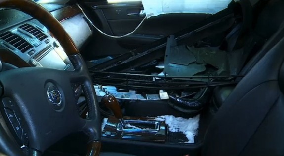 The inside of Anja Bochenski's car