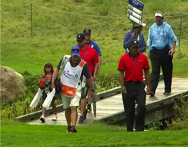 Tiger Woods with his daughter Sam at the Deutsche Bank Championship