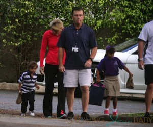 Tiger Woods,Lindsey Vonn,Sam Woods & Charlie Woods at school