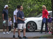 Tiger Woods,Lindsey Vonn,Sam Woods and Charlie Woods at school