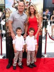 Tito Ortiz with girlfriend Amber Nichole Miller and his boys Jesse and Journey at At Boxtrolls Premiere