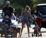 Tom Brady and Gisele Bunchen at the park with their kids John, Benjamin and Vivian