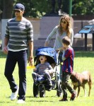Tom Brady and Gisele Bundchen at the park with sons Ben and John