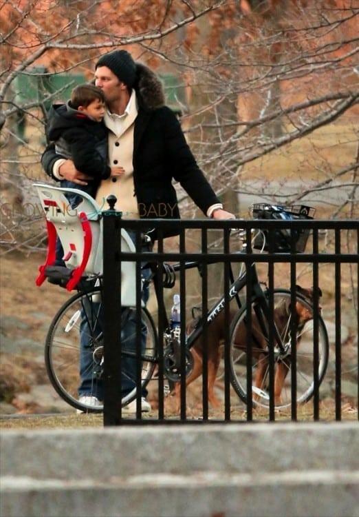 Tom Brady and son Benjamin @ the park in Boston