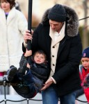 Tom Brady and son Benjamin at the park in Boston