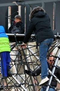 Tom Brady and son Benjamin at the park in Boston