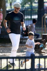 Tom Brady at the park with his son Benjamin