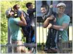 Tom Brady at the park with his sons John Moynahan & Benjamin Brady in Boston