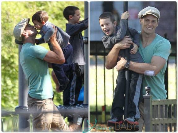 Tom Brady at the park with his sons John Moynahan & Benjamin Brady in Boston