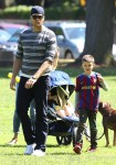 Tom Brady at the park with sons Ben and John