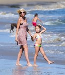 Tori Spelling at the beach with Stella in Malibu