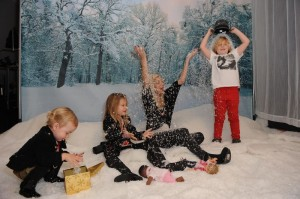 Tori Spelling with her kids Liam, Stella and Hattie at the Secret Santa Workshop